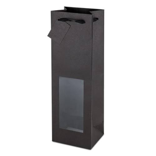 True 4785 Black Kraft Window Wine Bag