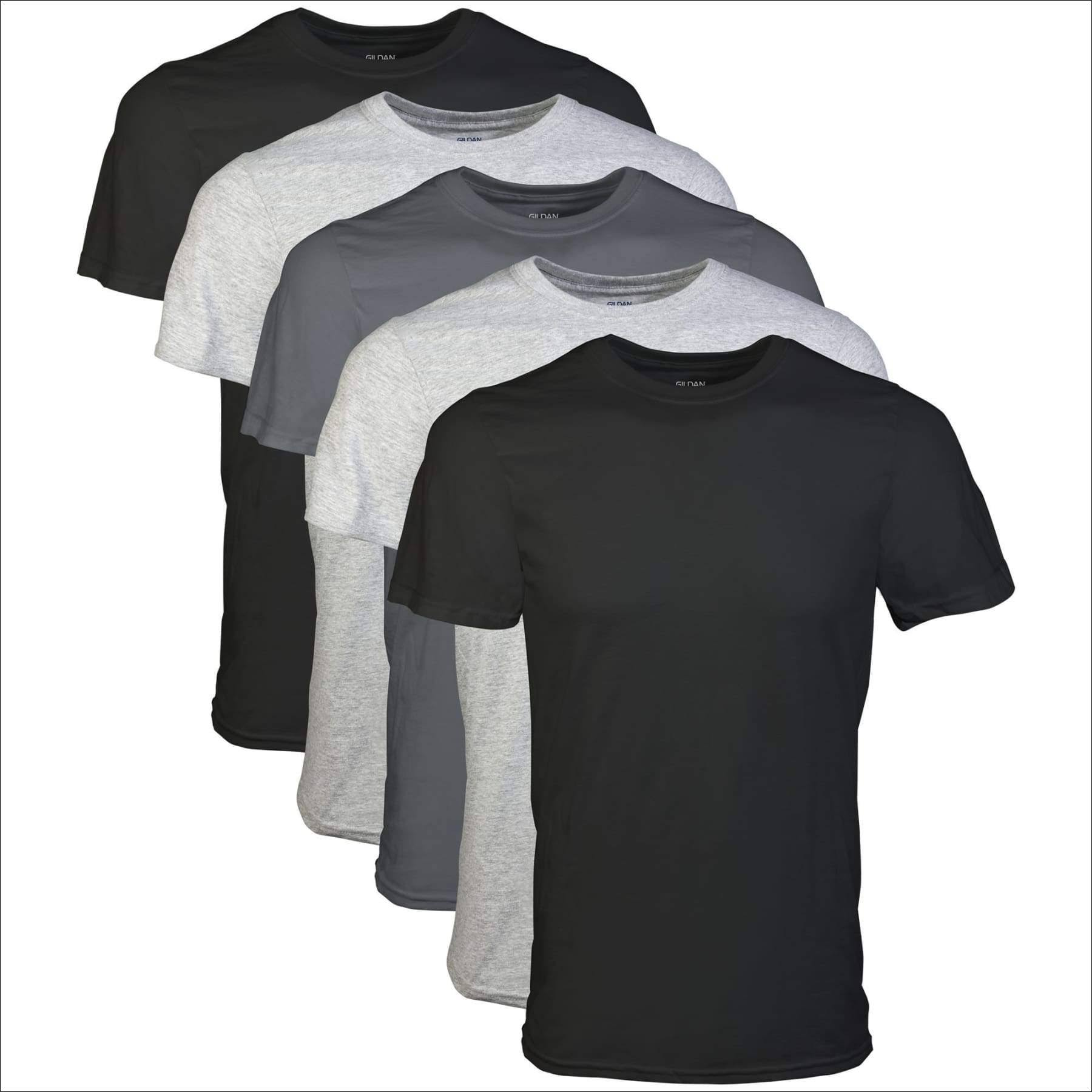 Gildan Men's Crew T-Shirt, Assorted, Medium - 5 count