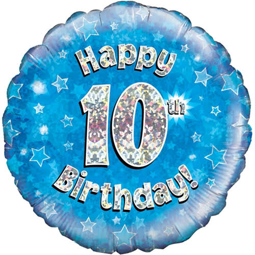 "Happy 10th Birthday Party Foil Balloon - 18"", Holographic Blue"
