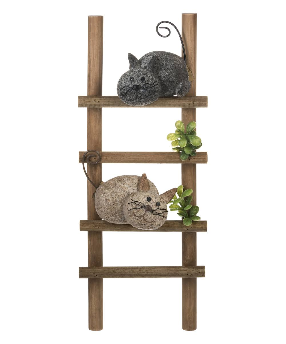 Ganz Decorative Plaques - Brown & Black Rock Cats on A Ladder Wall Plaque