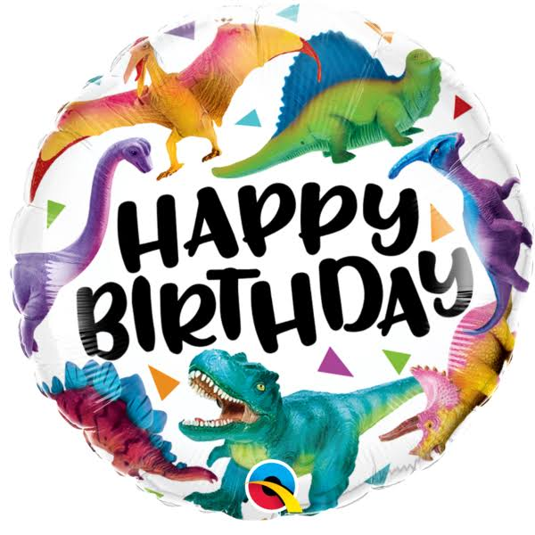 "Colourful Dinosaurs Happy Birthday 18"" Foil 