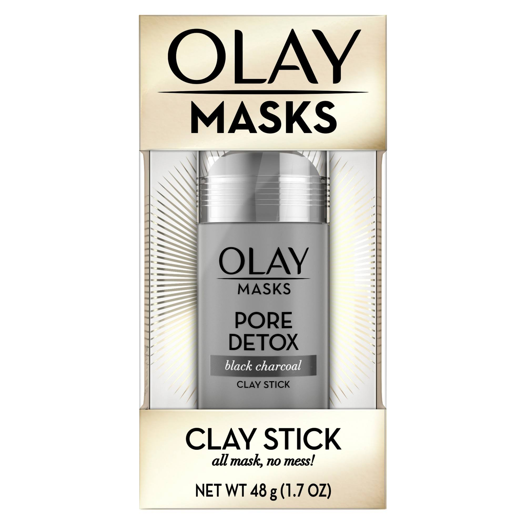 Olay Pore Detox Clay Face Mask Stick Facial Cleanser - Black Charcoal, 1.7oz