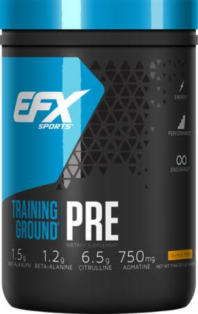 EFX Sports Training Ground Pre Workout Powder - Orange Mango, 500g