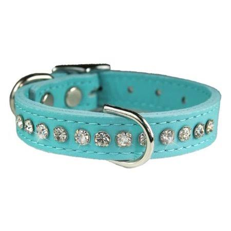 OmniPet Signature Leather Crystal Dog Collar Made in USA 16 inch Baby Blue, White
