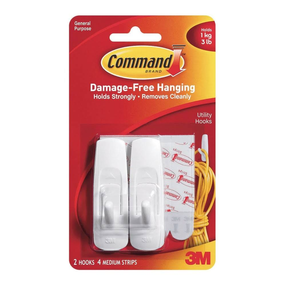 3M Command Adhesive Reusable Medium Hooks - Pack Of 2
