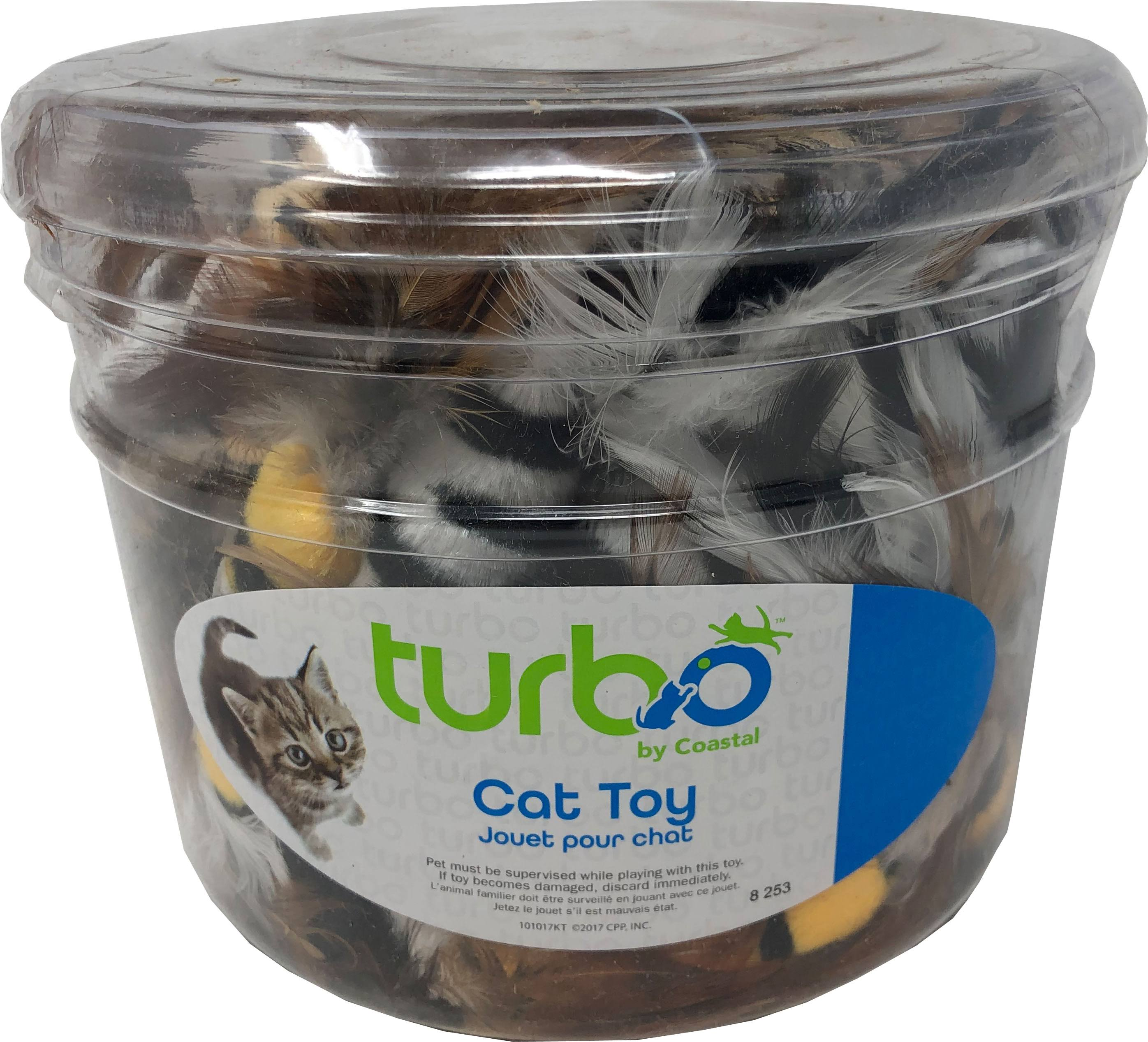 Coastal Pet Products 80524 NCLCAT Turbo Feather Toys Canister - Multicolor 51 Piece - Pack of 8
