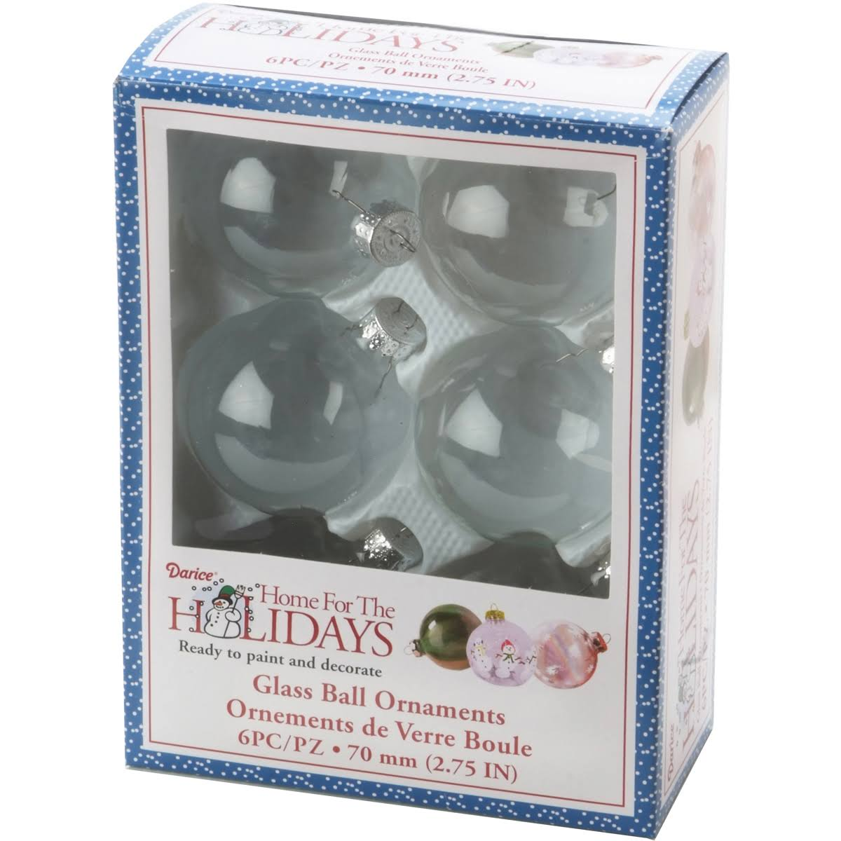 Heavy Glass Ornament Balls - Clear, 70mm, 6pk