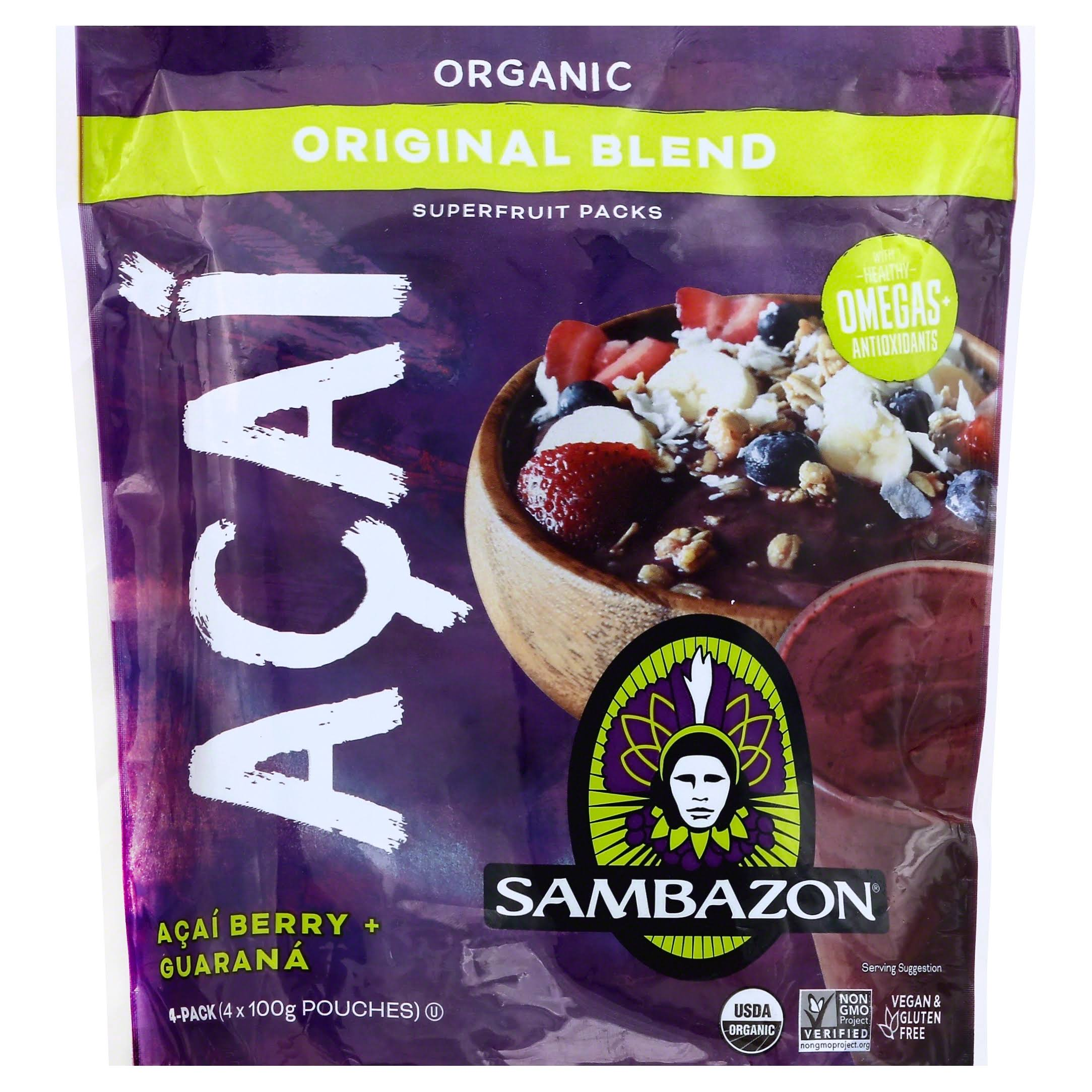 Sambazon Superfruit Packs, Organic, Original Blend, Acai, 4-Pack - 4 pack, 100 g pouches