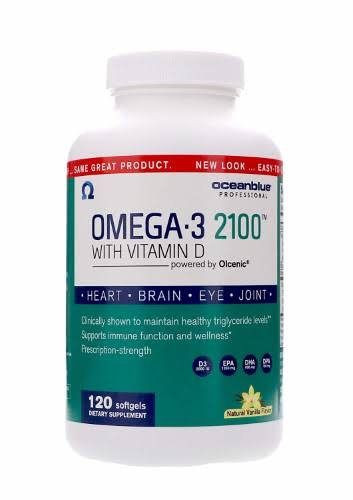 Ocean Blue Omega 3 2100 Olcenic Blend Dietary Supplement - with Vitamin D, Vanilla, 120ct