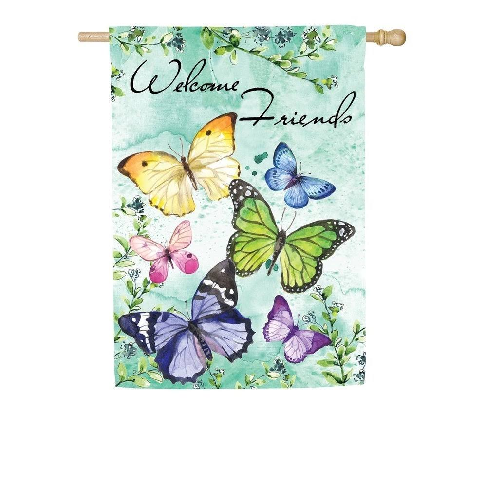 Evergreen Suede Textured House Flag -Butterfly Friends
