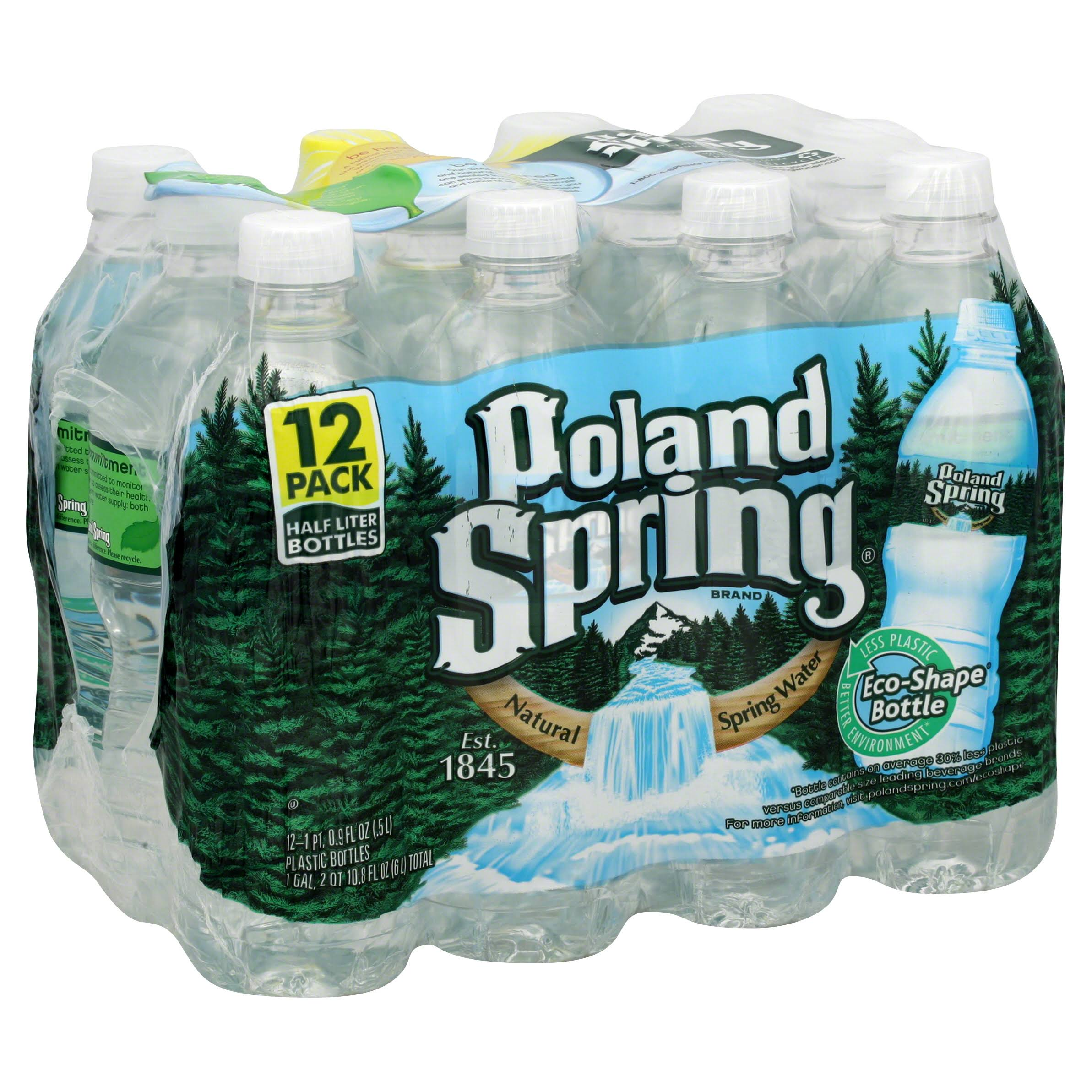 Poland Spring Natural Spring Water - 12 Pack, 0.5L