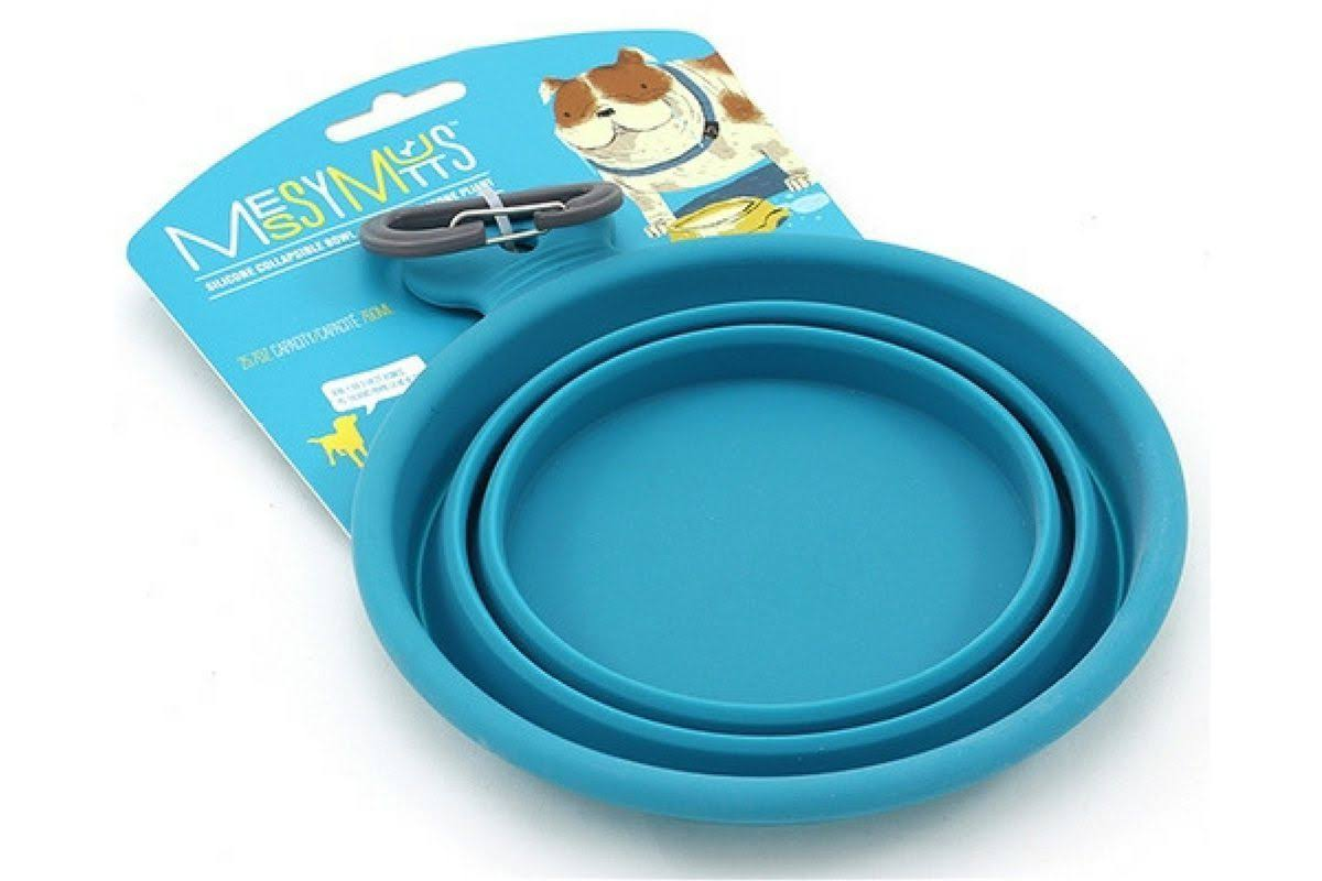 Messy Mutts Silicone Collapsible Bowl Blue Small