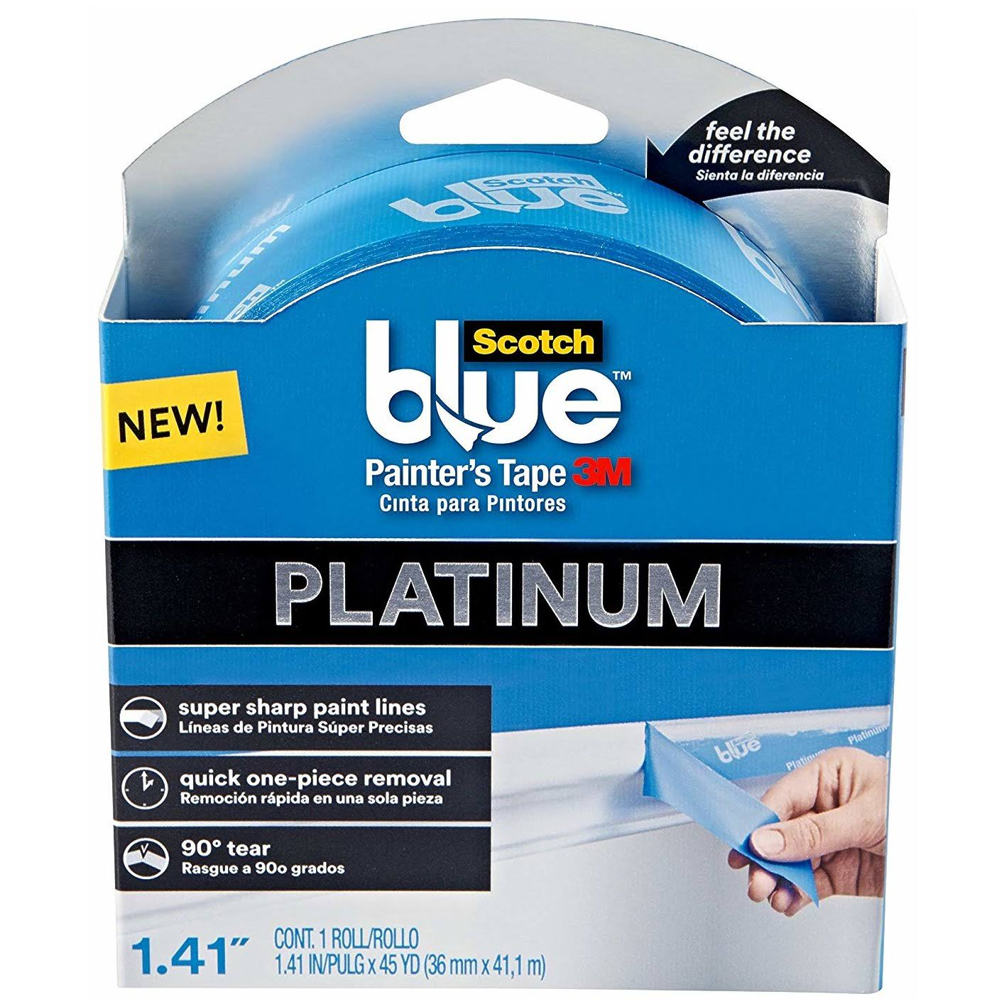 "3M Scotch Platinum Painter's Tape - 1.41"" x 45 Yards, Blue"