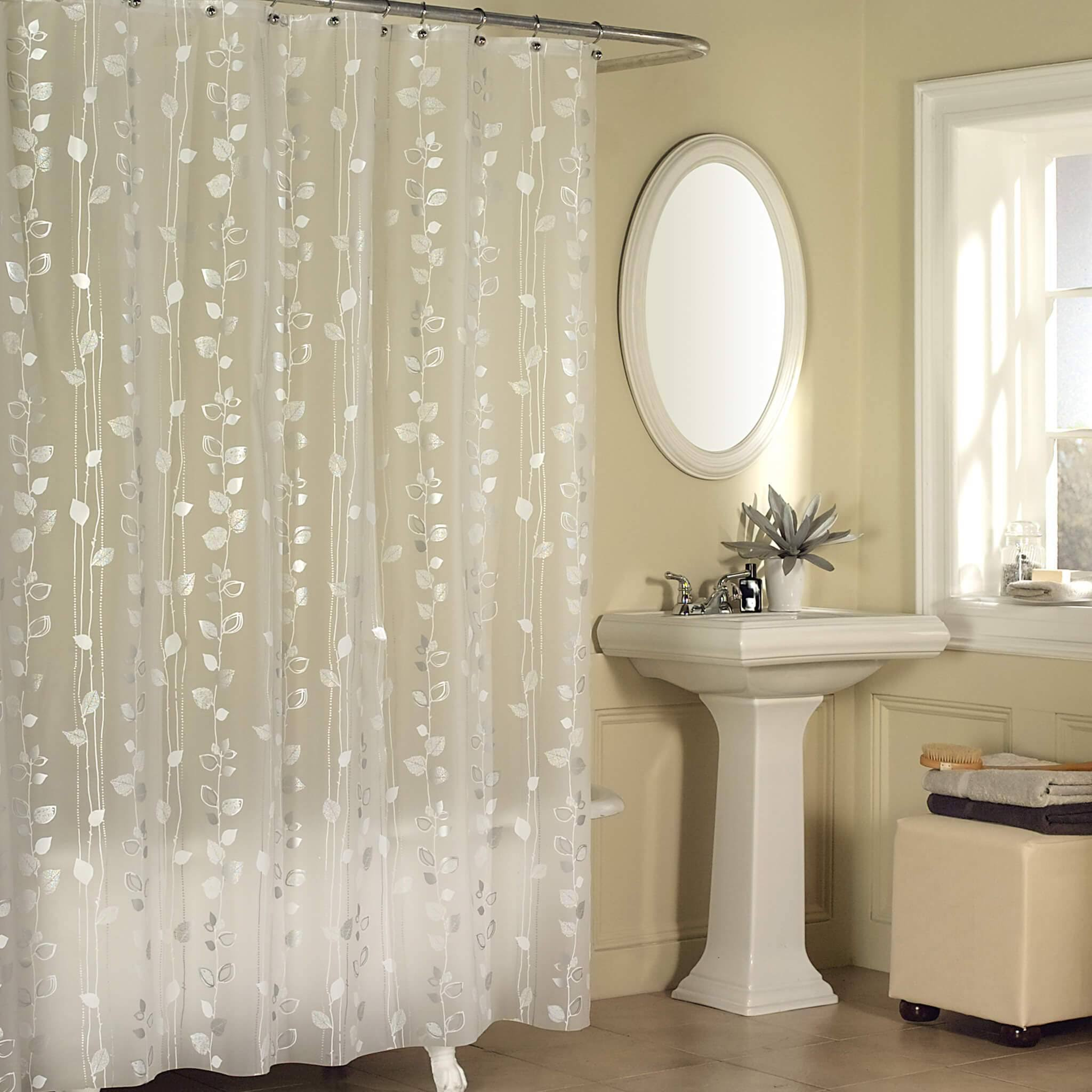 Ex-Cell Home Fashions Vinyl Ivy Shower Curtain, Silver