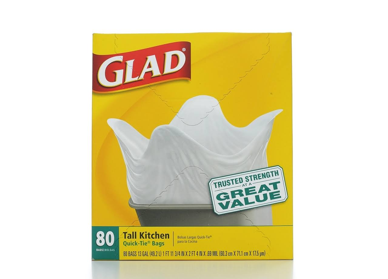 Glad Tall Kitchen Quick-Tie Trash Bags - 80 Bags