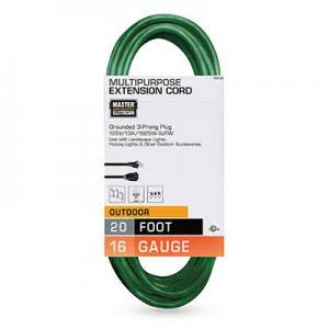 Master Electrician Outdoor Extension Cord - Green, 20ft