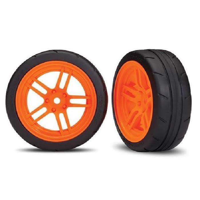 "Traxxas 8373A Assembled Orange Split-Spoke Wheels with 1.9"" Response Tires"