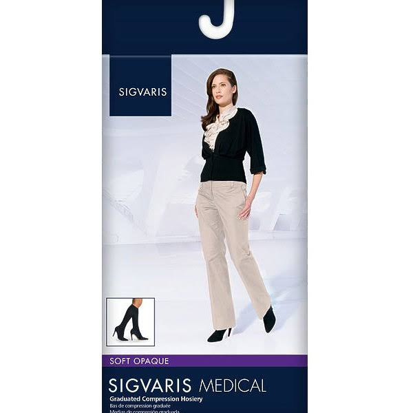 Sigvaris Soft Opaque 15-20 mmHg Knee High Open Toe Medium Long Black
