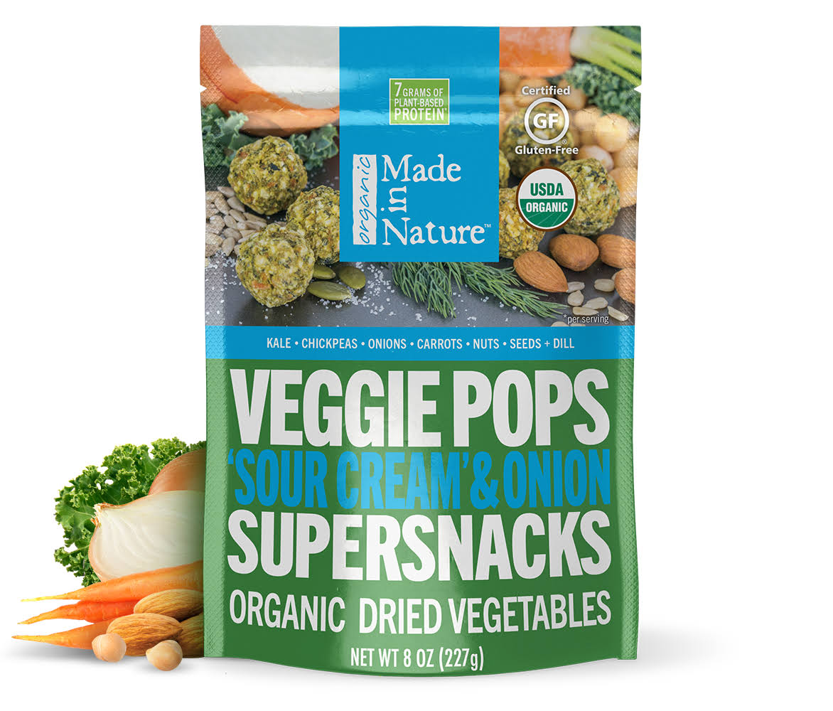 Made In Nature Organic Veggie Pops Supersnacks - Sour Cream and Onion, 3oz