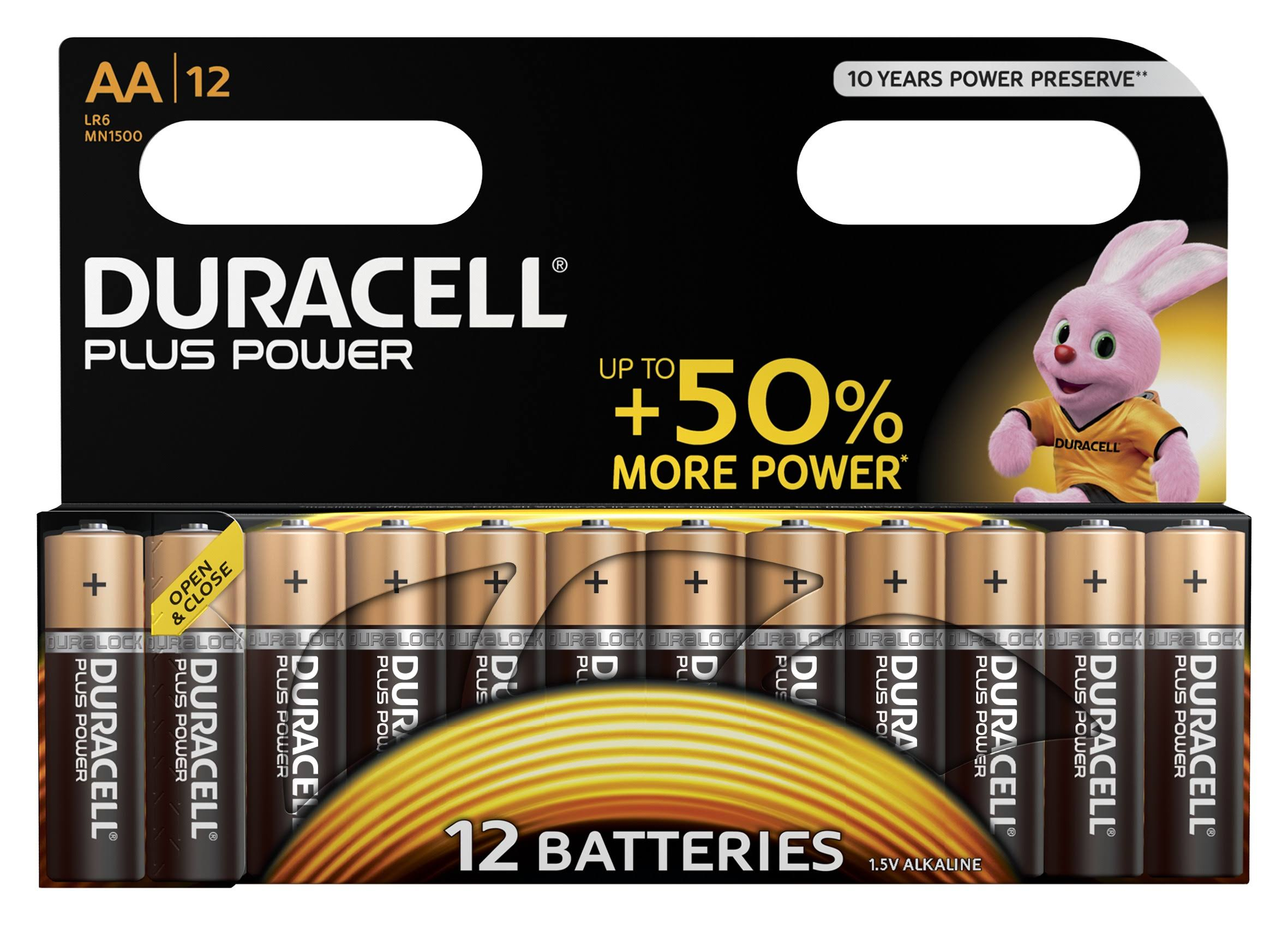 Duracell Plus Power Alkaline Batteries - 12 Pack, AA