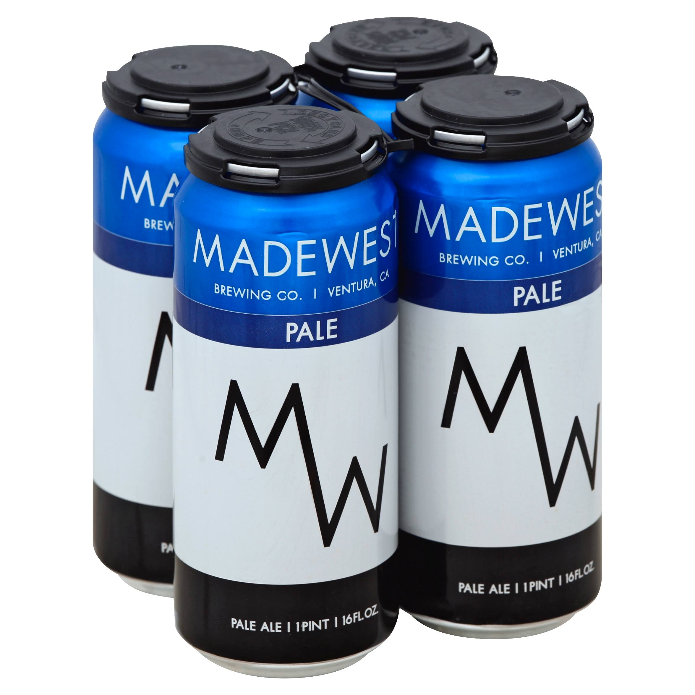Madewest Beer, Pale Ale - 4 pack, 16 fl oz cans
