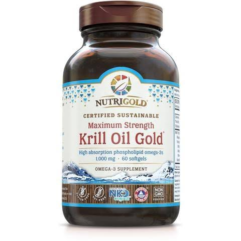 Nutrigold Krill Oil Gold Omega 3 Supplement - 60 Softgels