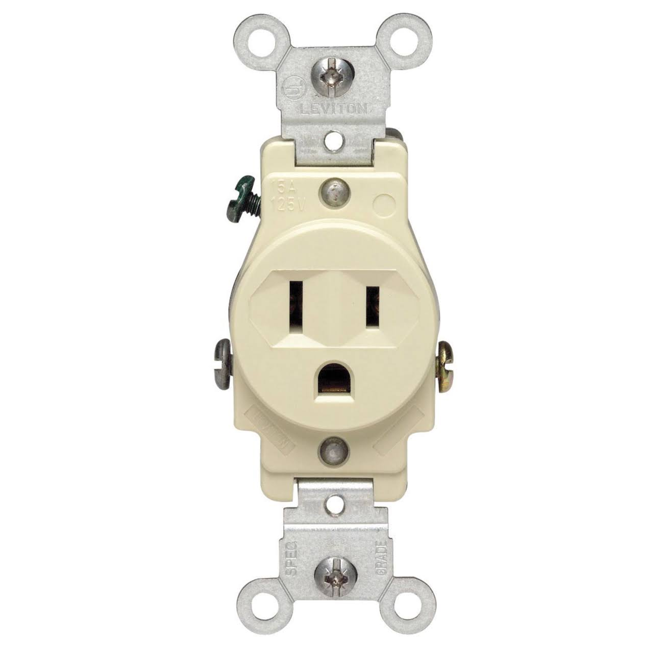 Leviton 5015-I Grounded Outlet - Ivory, 15A, 125V