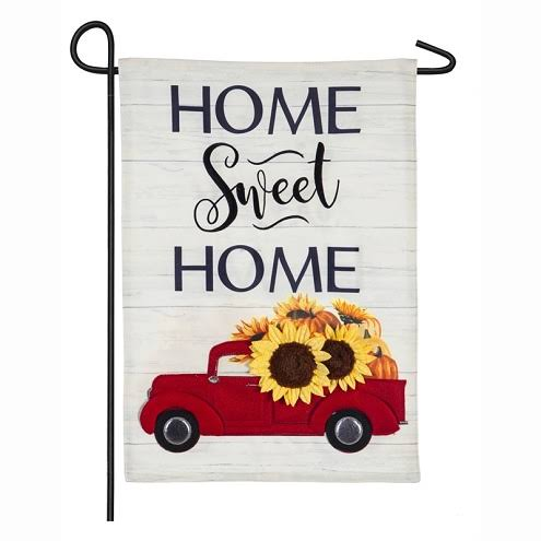 Evergreen Harvest Red Truck Garden Linen Flag
