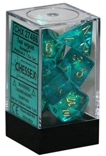 Chessex 7 Set Dice Borealis Teal Gold 27486