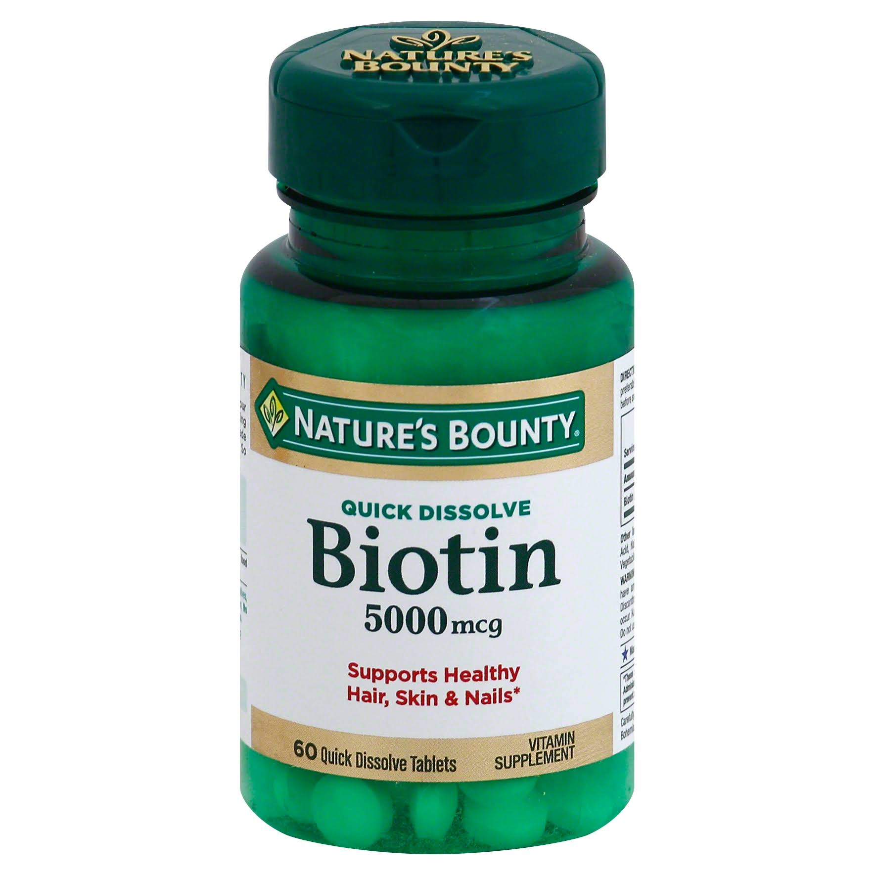 Natures Bounty Biotin Vitamin Supplement - 60 Tablets, 5000mcg