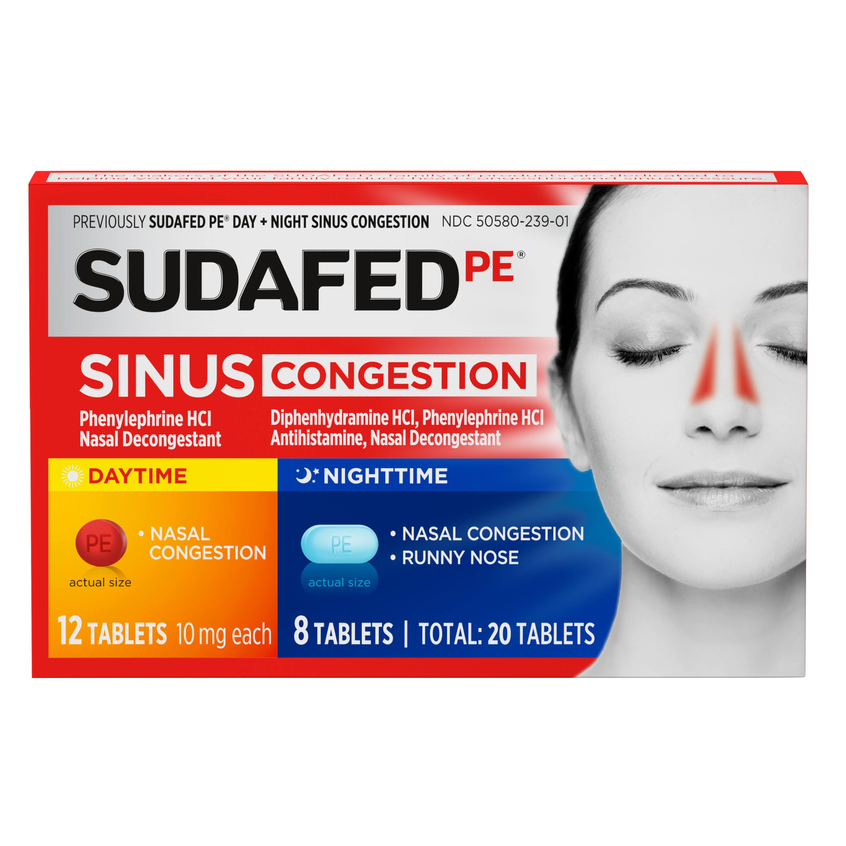 Sudafed PE Day and Night Sinus Decongestant Tablets - 20ct