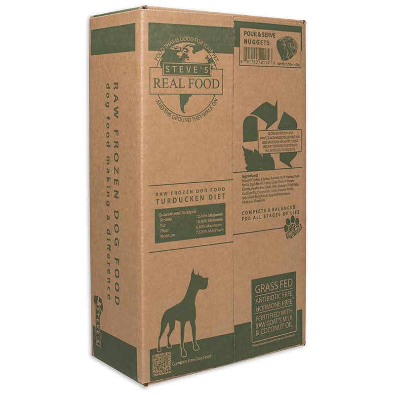 Steves Real Food 84512114B 9.75 lbs Turducken Nuggets Dog Food