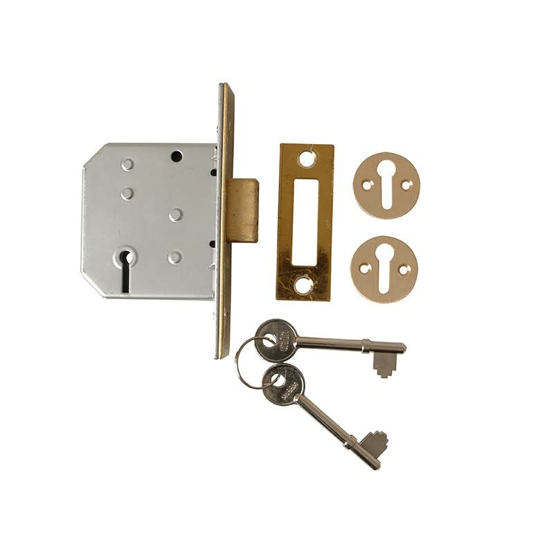 Union Locks 3 Lever Mortice Deadlock - Polished Brass
