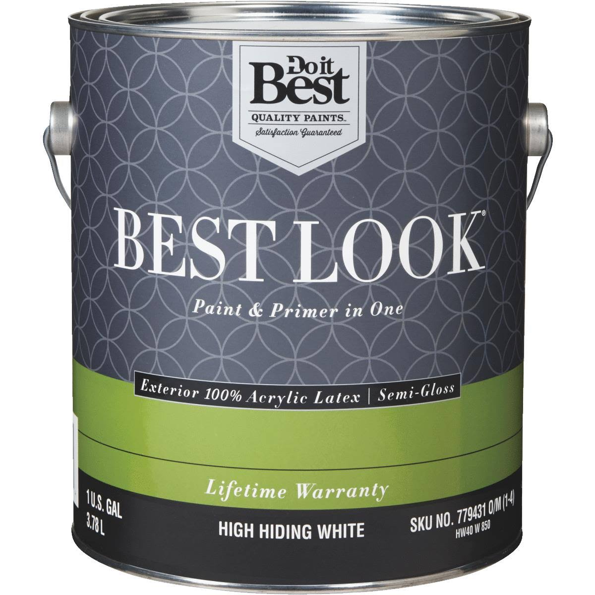 - HW40W0850-16 Best Look 100% Acrylic Latex Paint & Primer in One Semi-Gloss Exterior House Paint