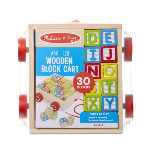 Melissa and Doug Abc-123 Wooden Block Cart Block Toy - 30 Blocks