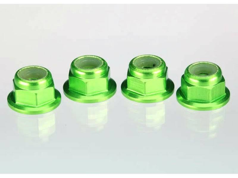 Traxxas 4mm Aluminum Flanged Serrated Nuts (Green) - 1747G