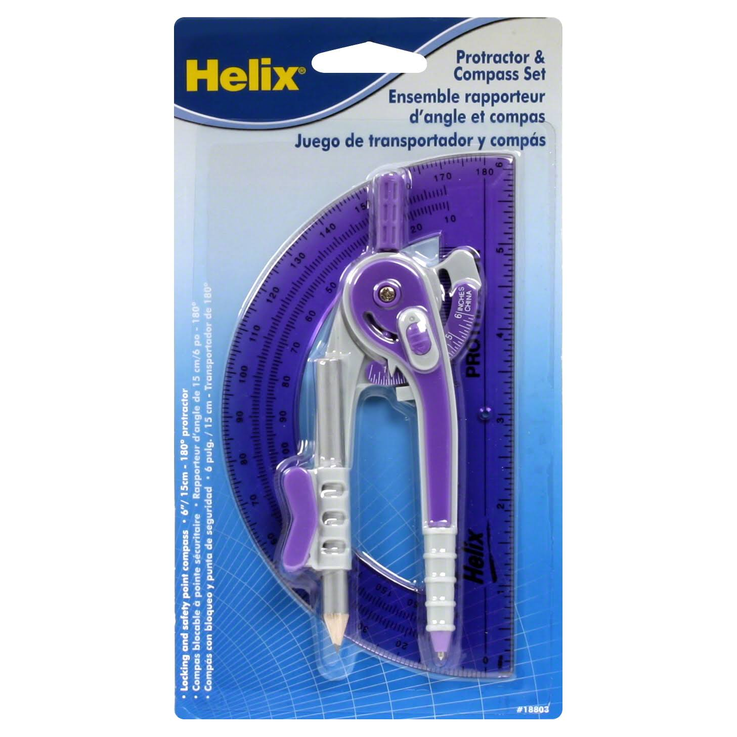 Helix Universal Locking Compass and Protractor Set - Assorted Colors