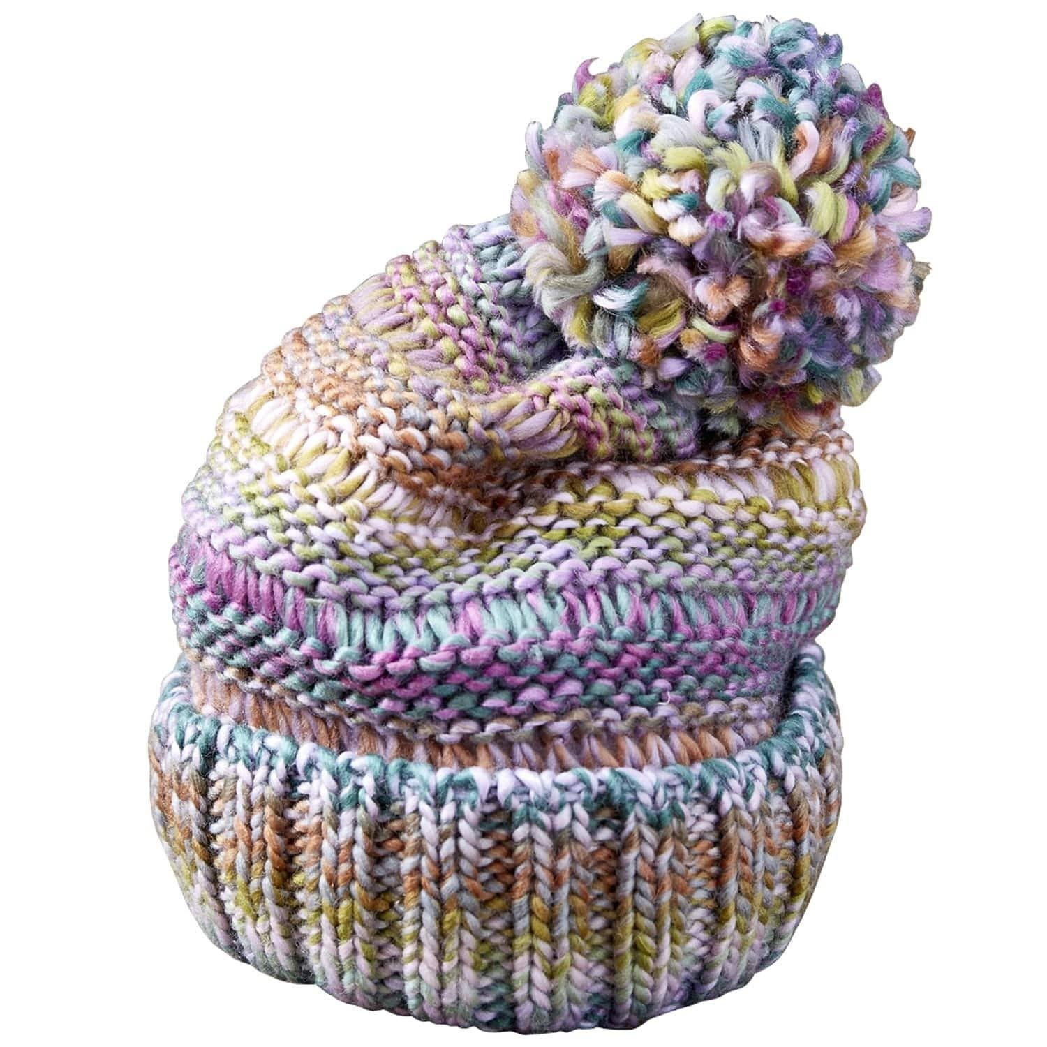 Tickled Pink Ombre Knit Lavender Multicolored One Size Beanie Hat, Women's, Multi-color
