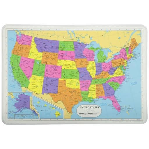 Painless Learning Placemats Map Of Usa Placemat