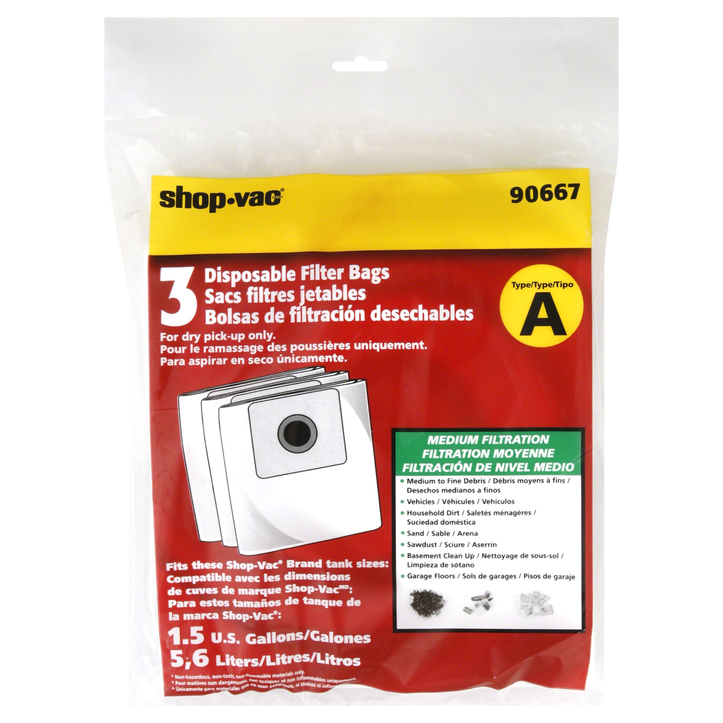 Shop Vac Filter Bag - 1.5gal, x3