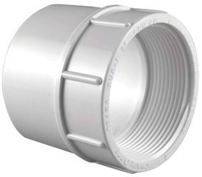 "Charlotte SCH40 PVC Pipe Adapter - White, 3"" x 3"""