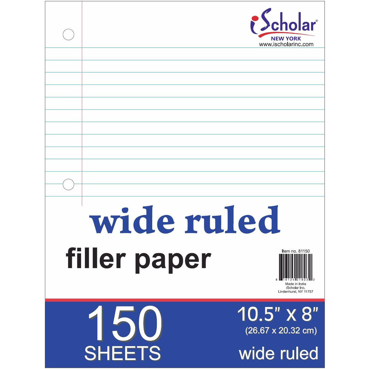 Ischolar Filler Paper - White, Wide Ruled, 150 Sheets