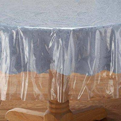 "Classic Touch Crystal Clear Tablecloth Cover - Vinyl Table Protector (60"" x 90"" Oval)"