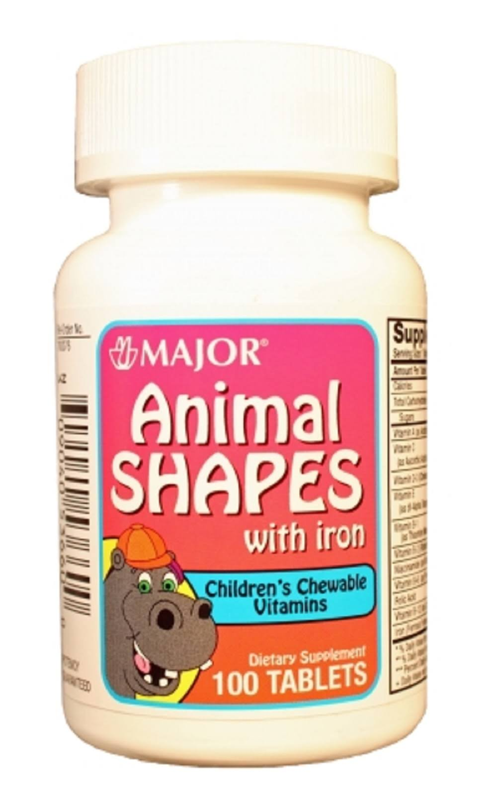 Major Animal Shapes With Iron Children's Chewable Vitamins - 100 Tablets
