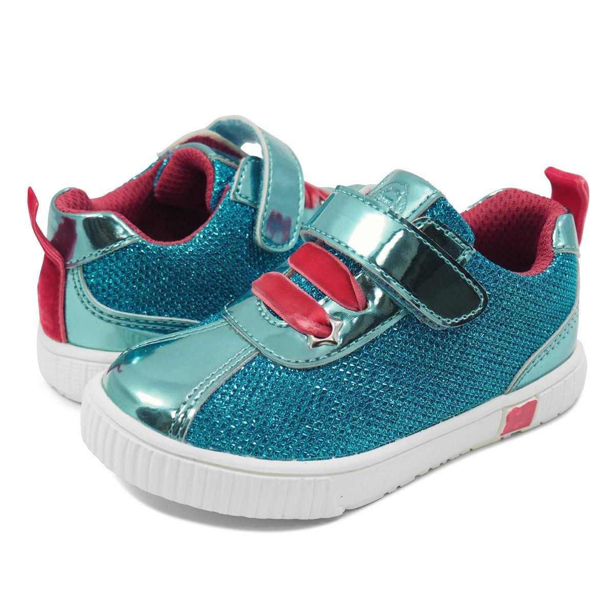Livie & Luca Girl's Sneaker Aqua Metallic Spin Sneaker Toddler 5