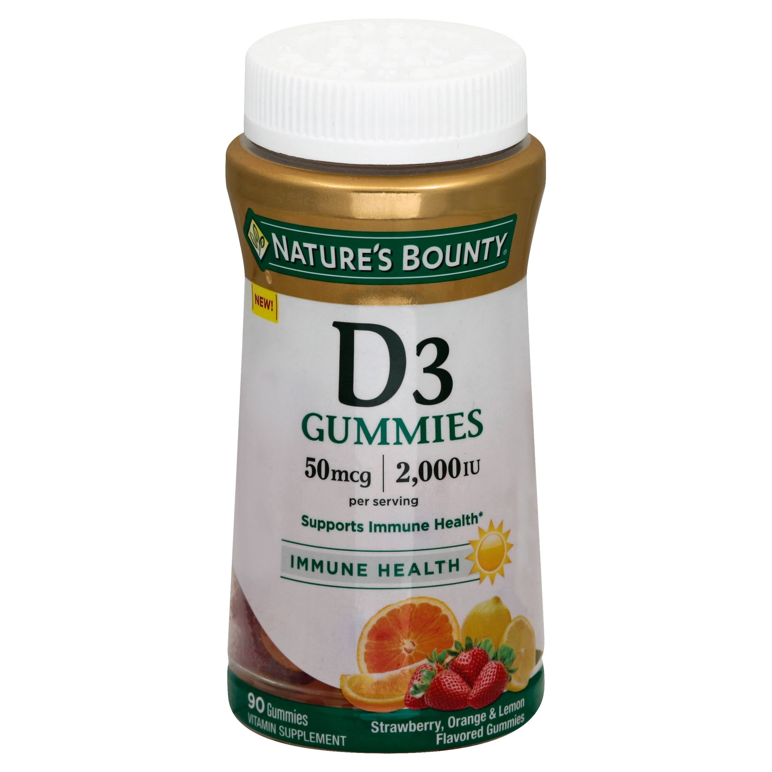 Natures Bounty Vitamin D3, 2,000 IU, Gummies, Strawberry, Orange & Lemon Flavored - 90 gummies