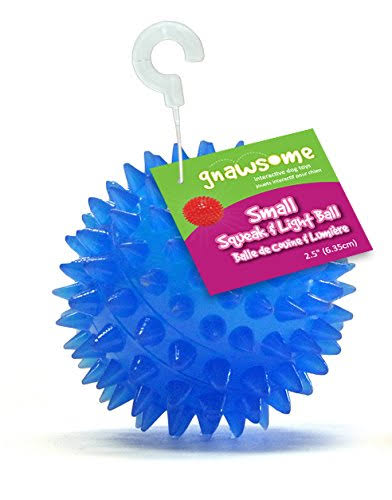 Gnawsome Spiky Squeak and Light Ball Dog Toy - Colors May Vary, 2.5""