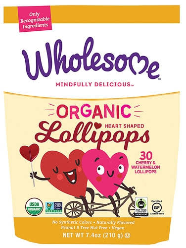Wholesome - Organic Heart Shaped Lollipops - 7.4 oz.