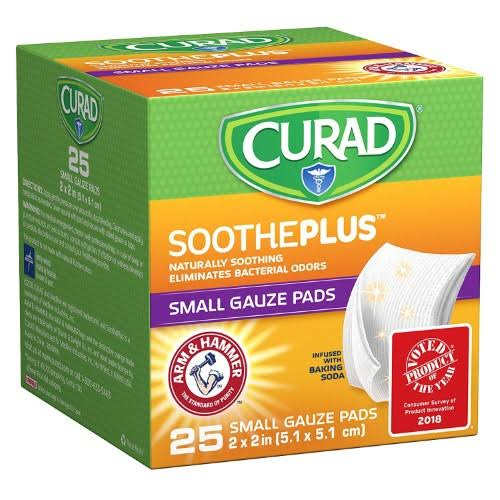 "Curad Soothe Plus Gauze Pads - Small, 2"" x 2"", 25ct"