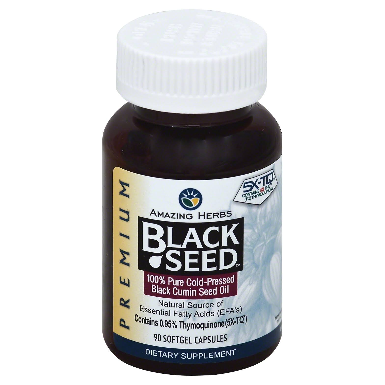 Amazing Herbs Cold-Pressed Black Seed Oil Dietary Supplement - 90 Capsules